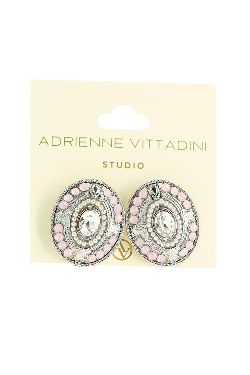 Women's Fashion Earrings, Pink/Silver