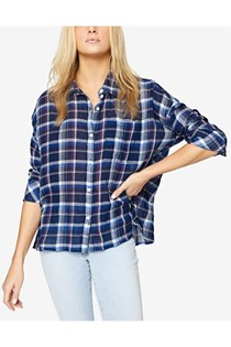 Women's Cotton Plaid Boyfriend Shirt, Blue