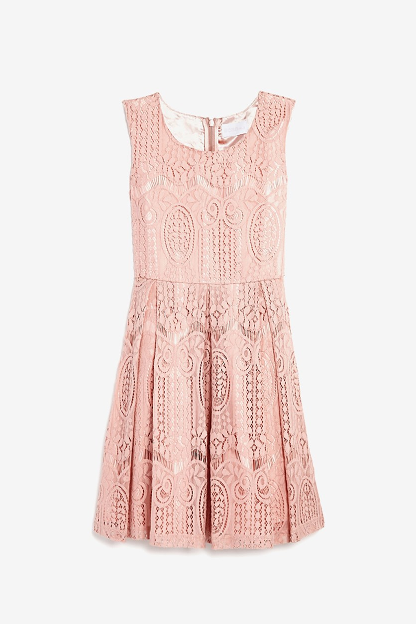 Girls' Lace Dress, Rose Petal