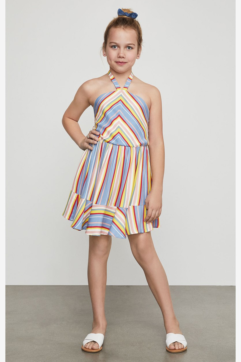 Big Girls Striped Halter Sundress, Blue/Yellow Combo