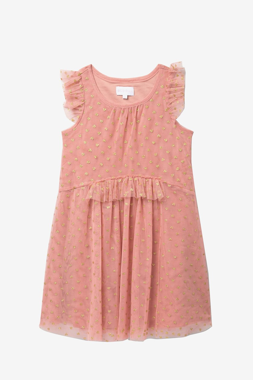 Big Girls Ruffle Trim Dress, Rose Bud