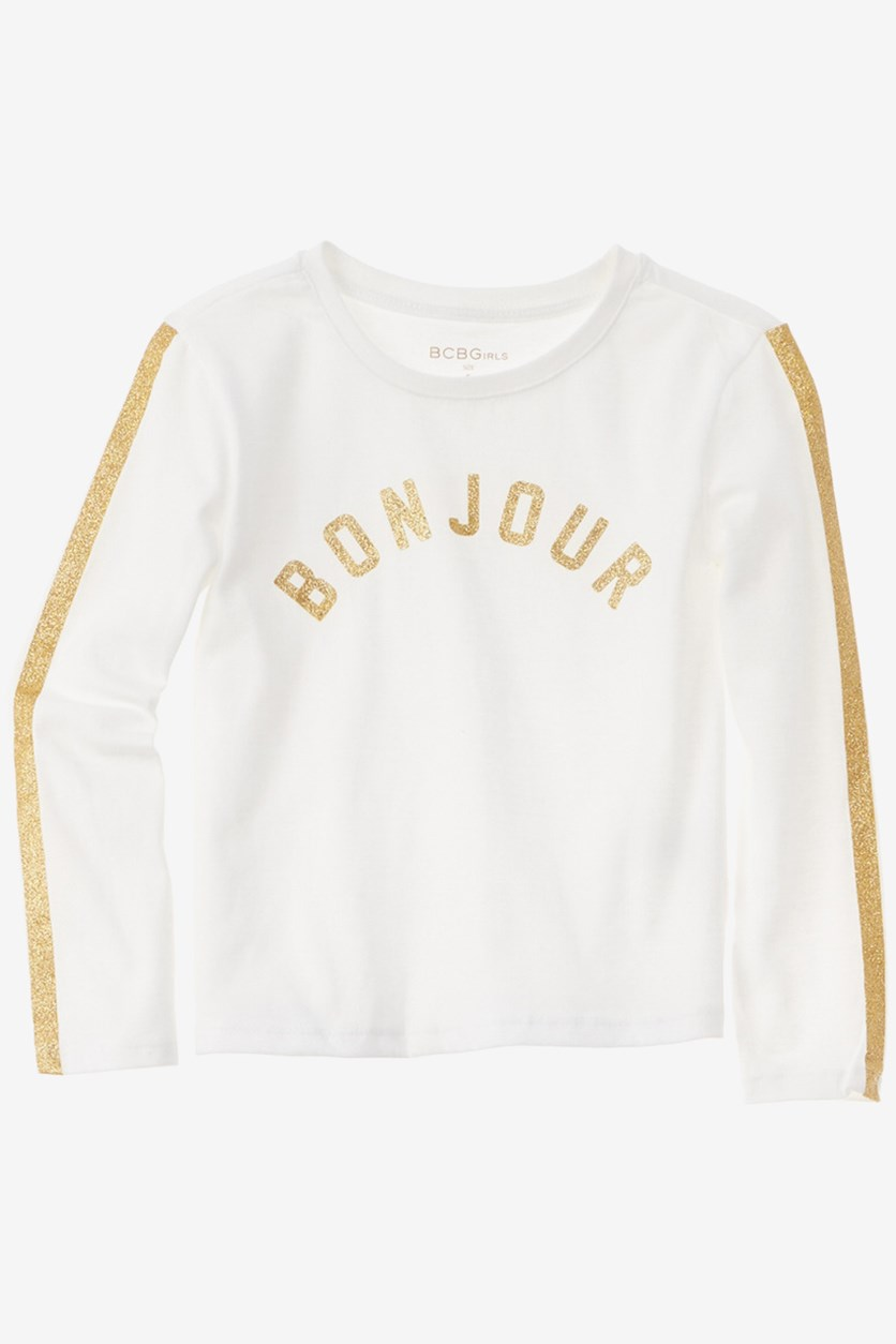Girls Pullover Glitter Graphic Sweater, White/Gold