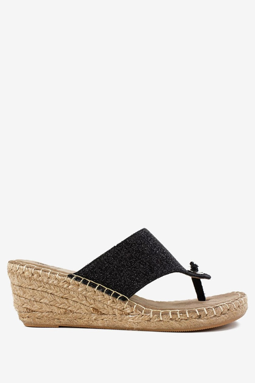 Women's Beachball Espadrille Wedge Sandals, Black Glitter