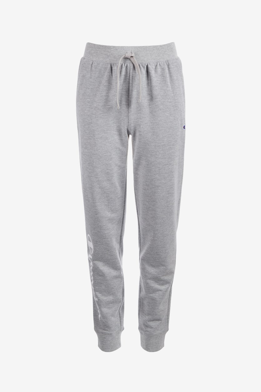 Girls French Terry Side-Script Logo Jogger Pants, Oxford Grey