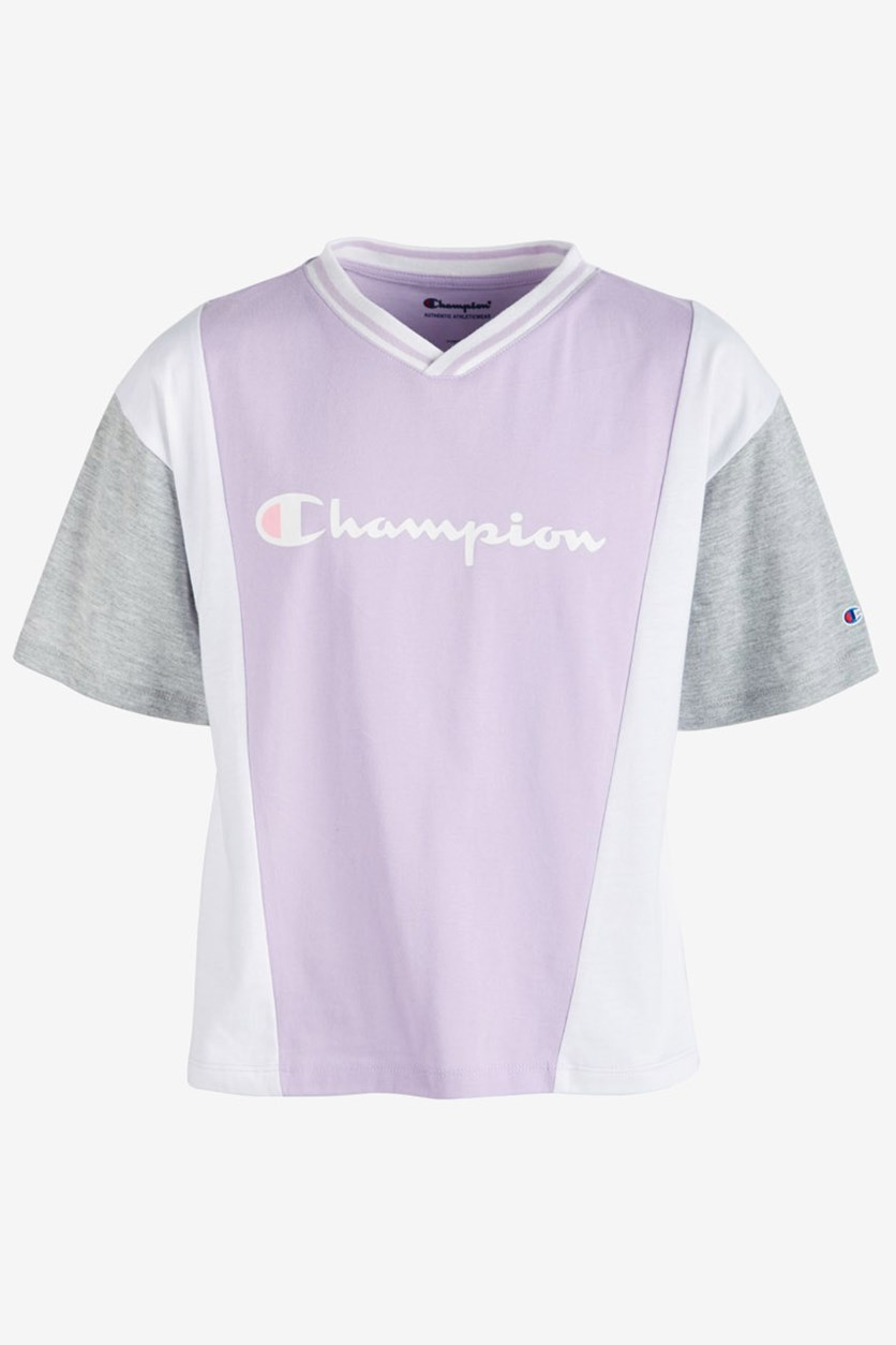 Girls Colorblocked Logo-Print T-Shirt, Pale Violet Rose