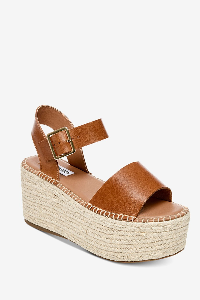 Women's Cabo Flatform Sandals, Cognac Leather