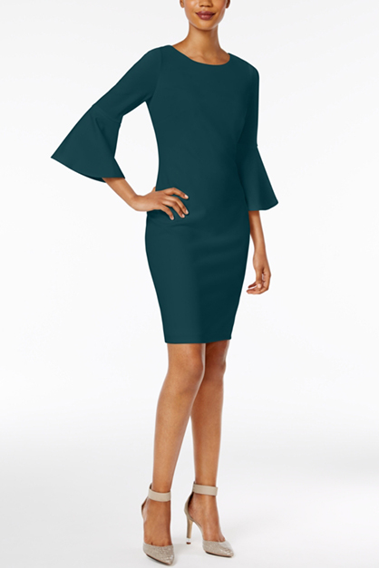 Women's Bell Sleeves Sheath Wear to Work Dress, Green