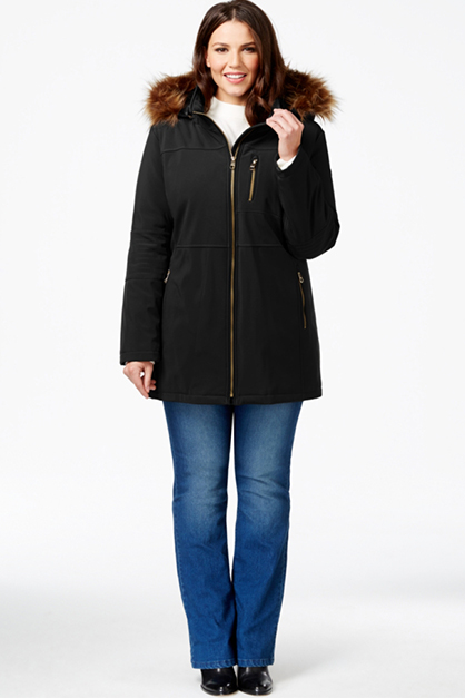 Women's Plus Size Faux-Fur-Hood Zip-Front Coat, Black