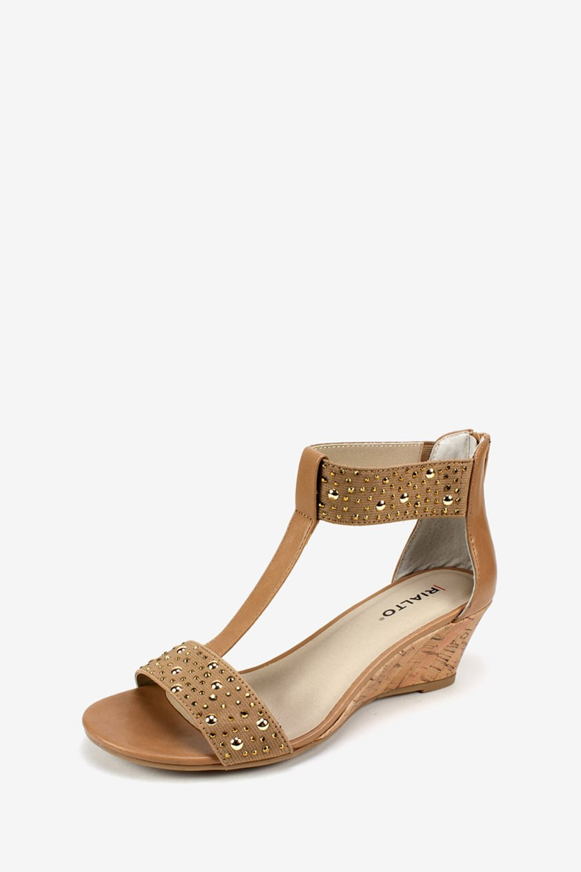 Women's Cleo Embellished Wedge, Natural/Smooth