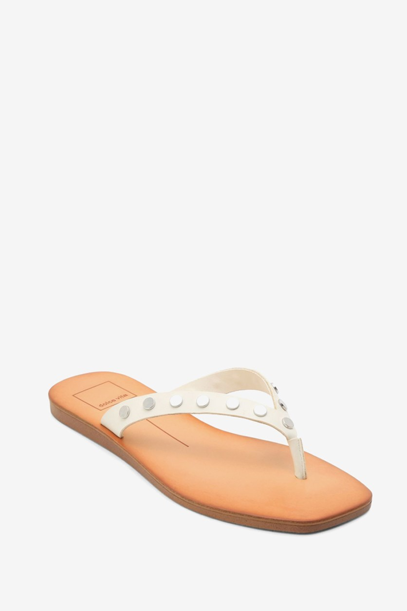 Women's Clyde Studded Thong Sandals, Off White Stella