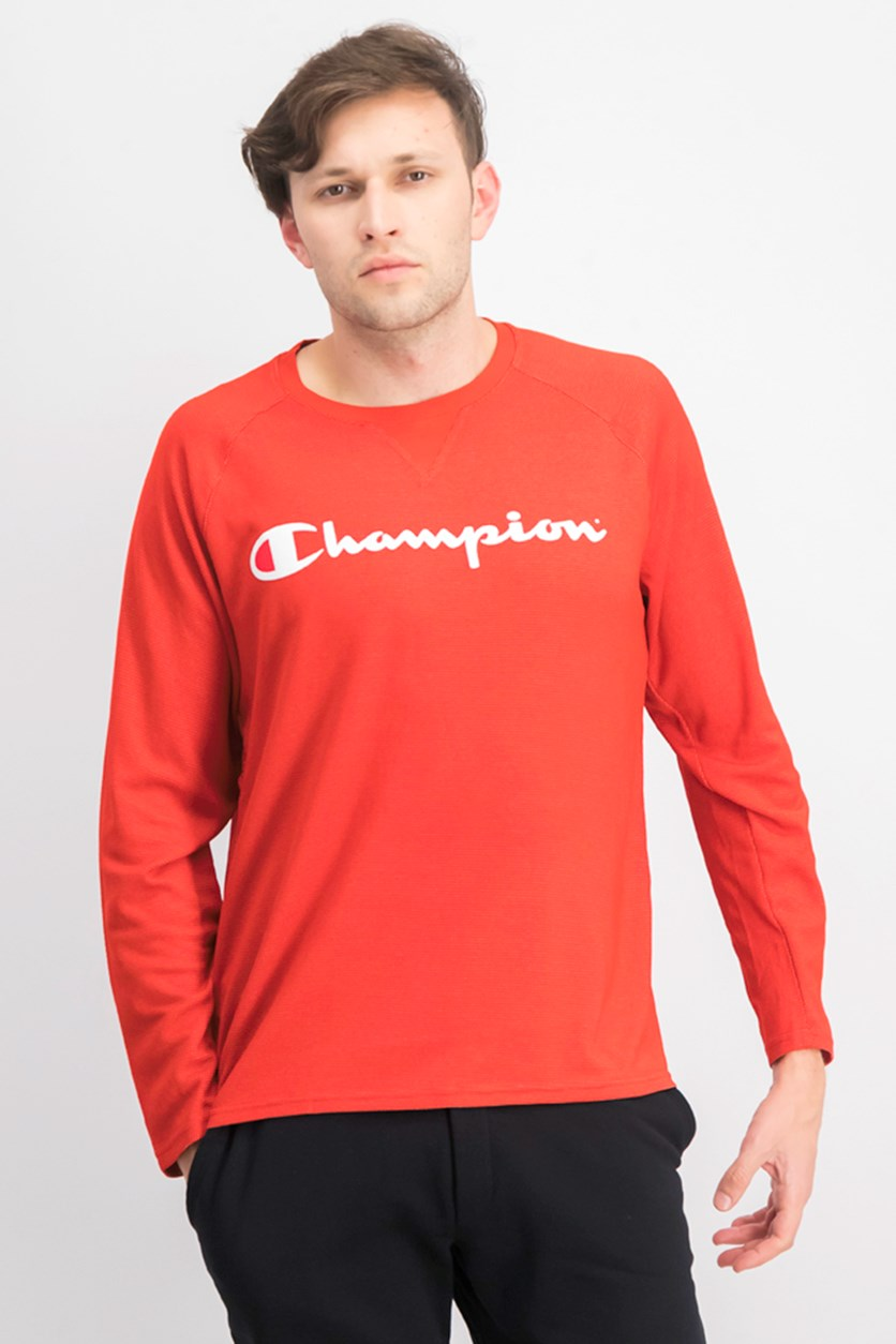 Men's Long Sleeve Brand Logo T-shirt, Red/White
