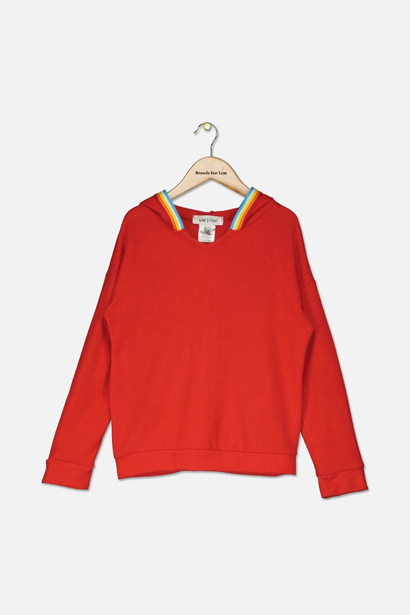 Kids Girls Hooded Sweater, Red