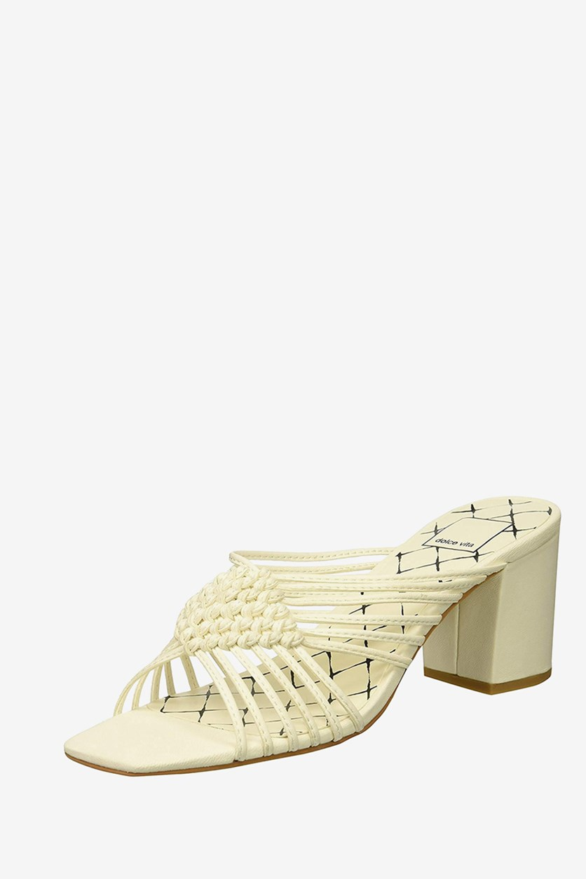 Women's  Delana Knotted Mule Sandals, Off White Leather