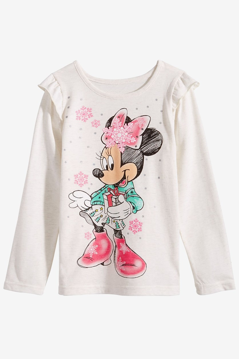 Baby Girls Minnie Mouse Snowflake T-Shirt, Off White