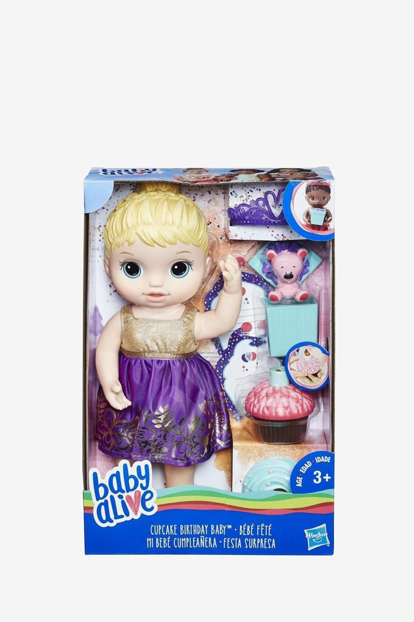 Baby Alive Cupcake Birthday Baby, Yellow/Purple/Blue