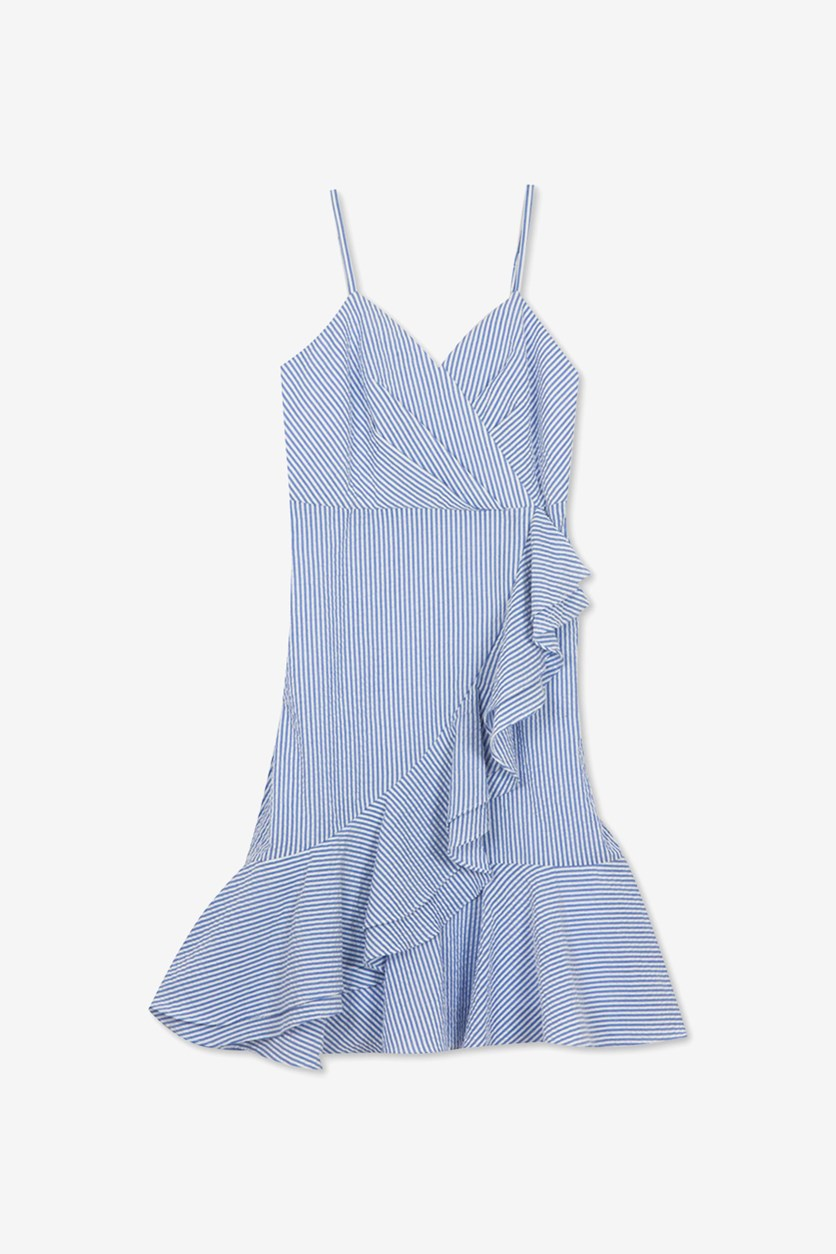 Big Girls Plus-Size Ruffle-Trim Seersucker Dress, Blue/White