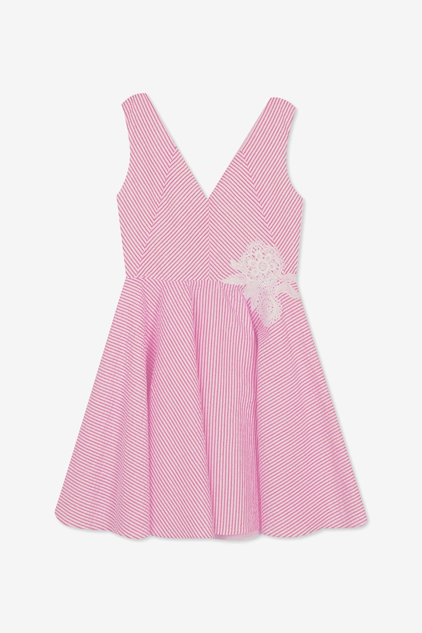 Big Girls Plus Fit & Flare Seersucker Dress, Pink