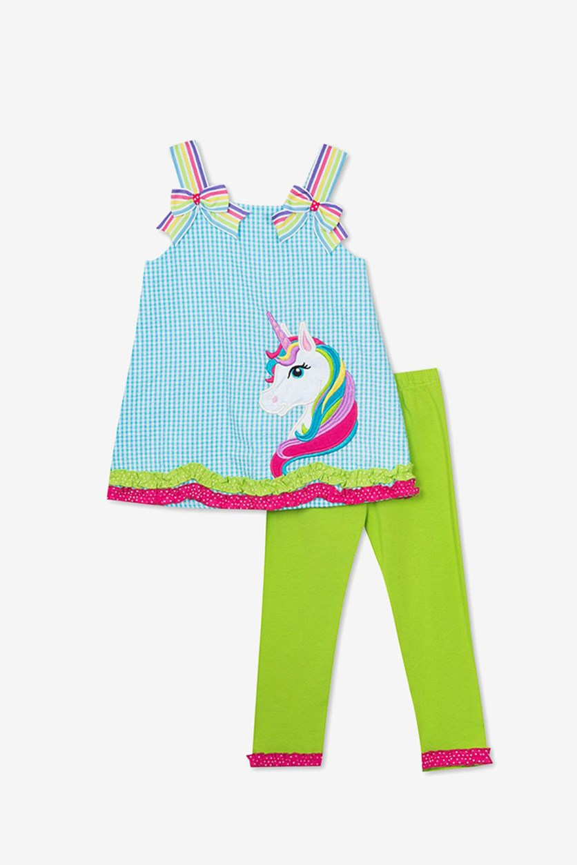 Baby Girls 2-Pc. Unicorn Top & Capri Leggings Set, Turquoise