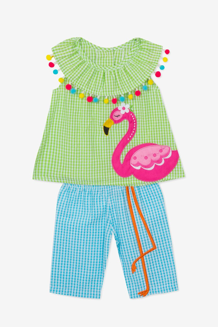 Baby Girls 2-Pc. Flamingo Tunic & Capri Pants Set, Lime Combo