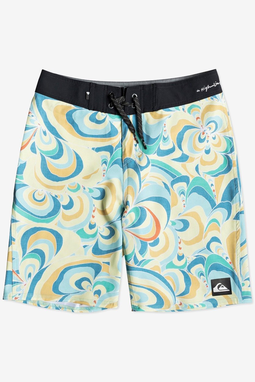 Kids Boys Highline Voodoo Stretch Abstract-Print Board Short, Yellow