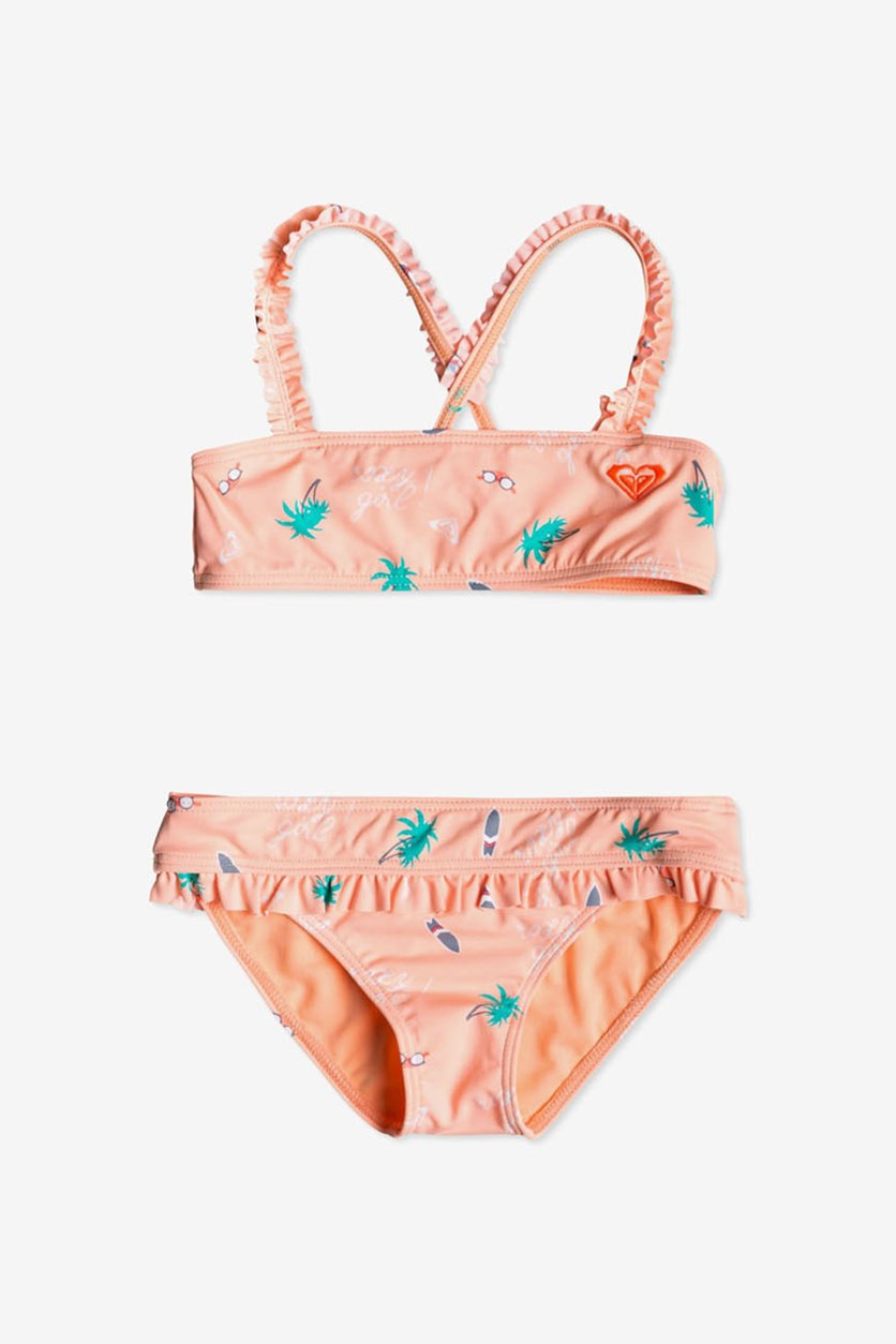 Toddler Girl's Salty But Sweet Two-Piece Swimsuit, Orange