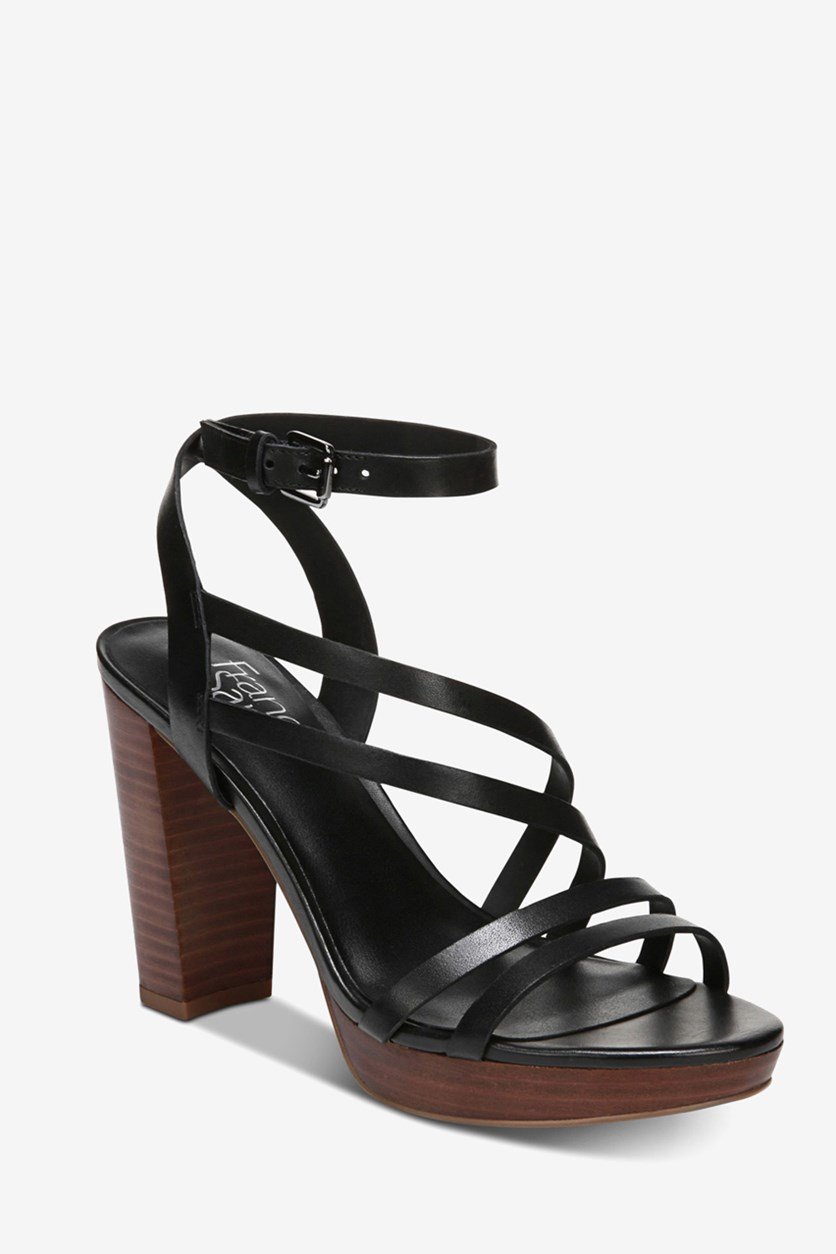 Women's Maryann Platform Sandals, Black Leather