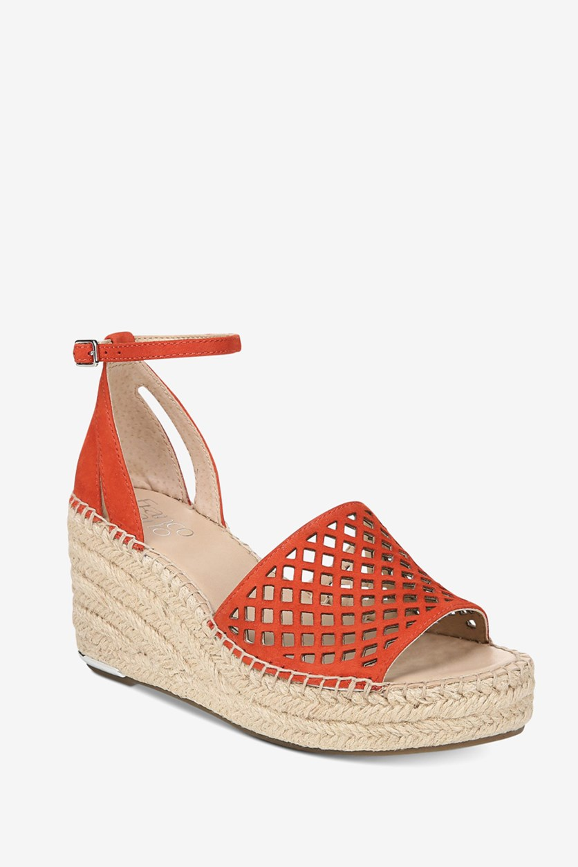 Women's Calabria Platform-Wedge Espadrille Sandal, Red Suede