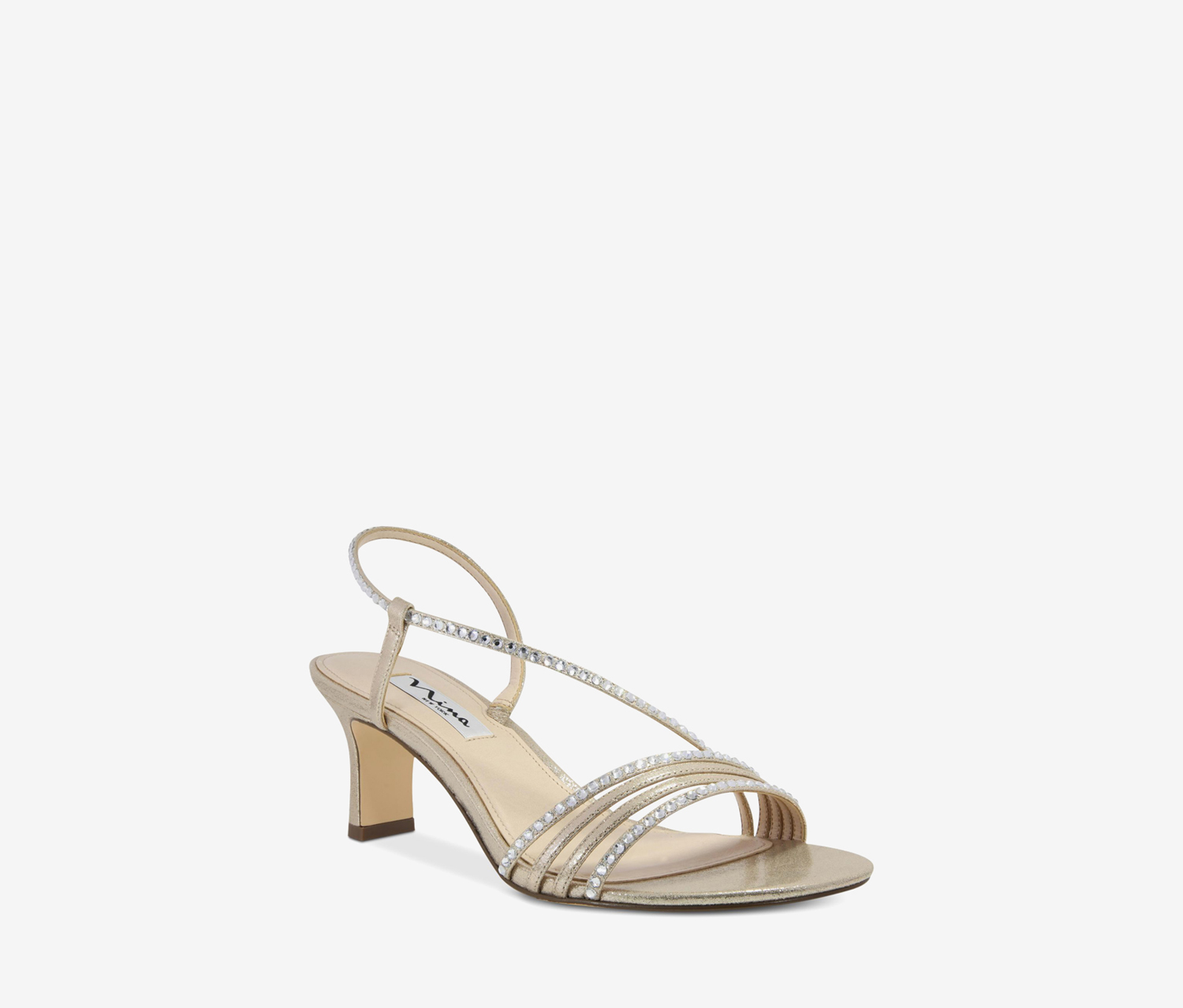 Women's Cross Strap Evening Sandals, Taupe Reflective