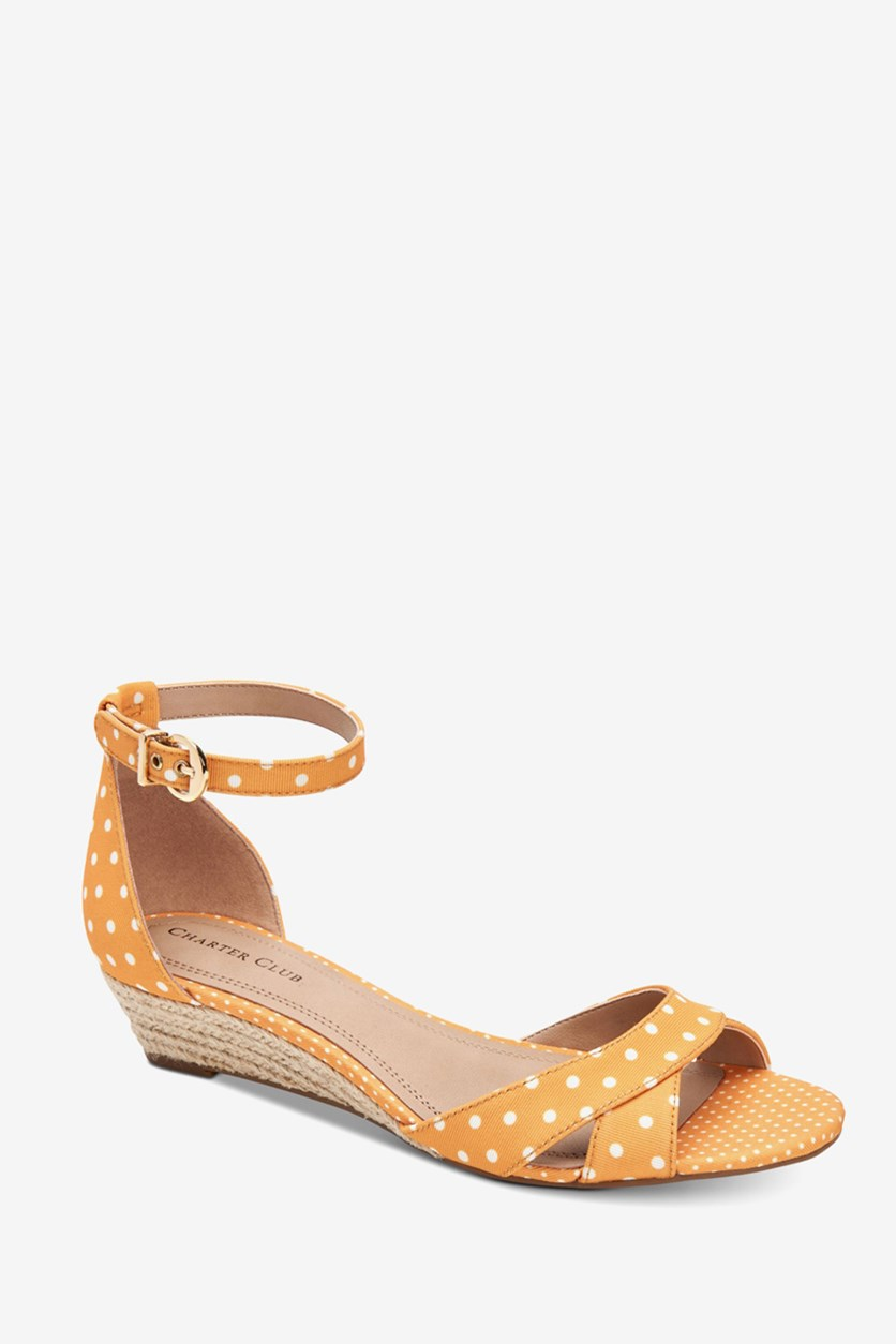Women's Gippi Wedge Sandals, Yellow Dot