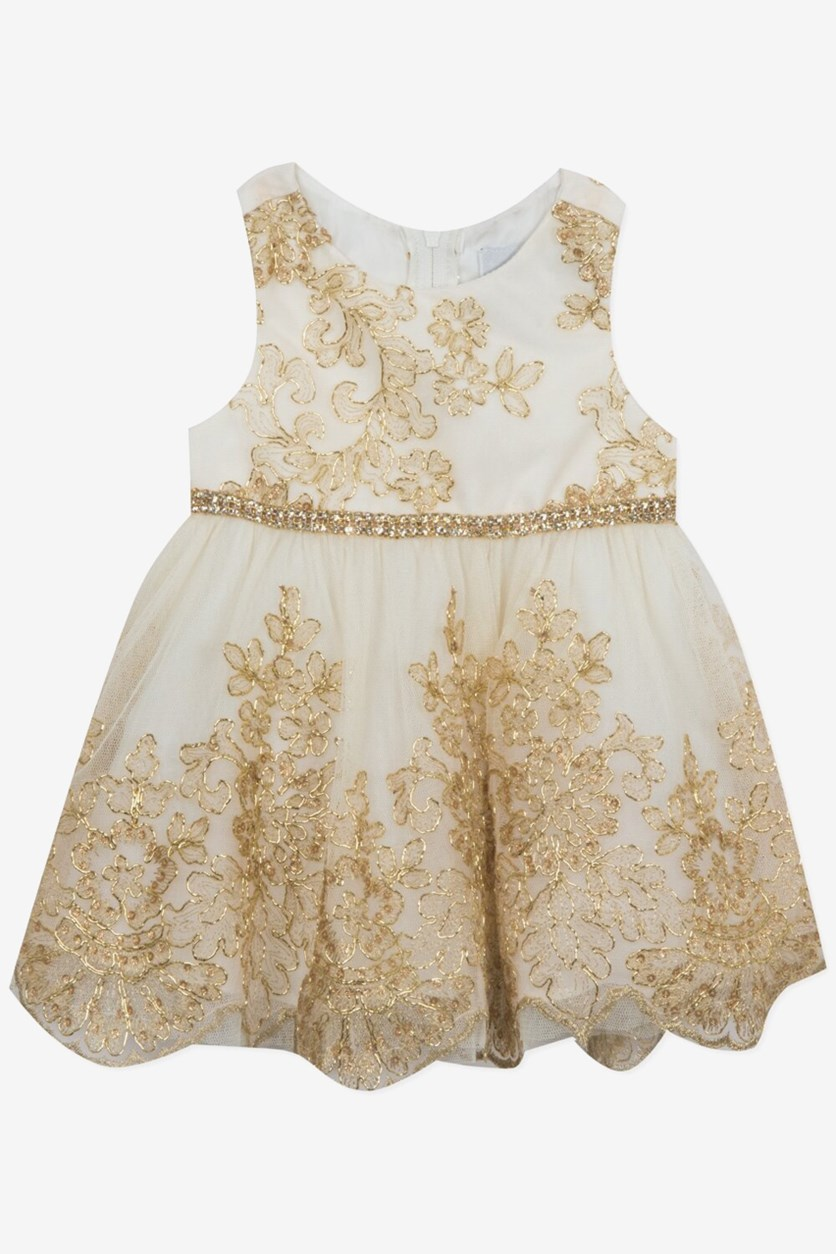 Baby Girls Gold Embroidered Dress, Gold