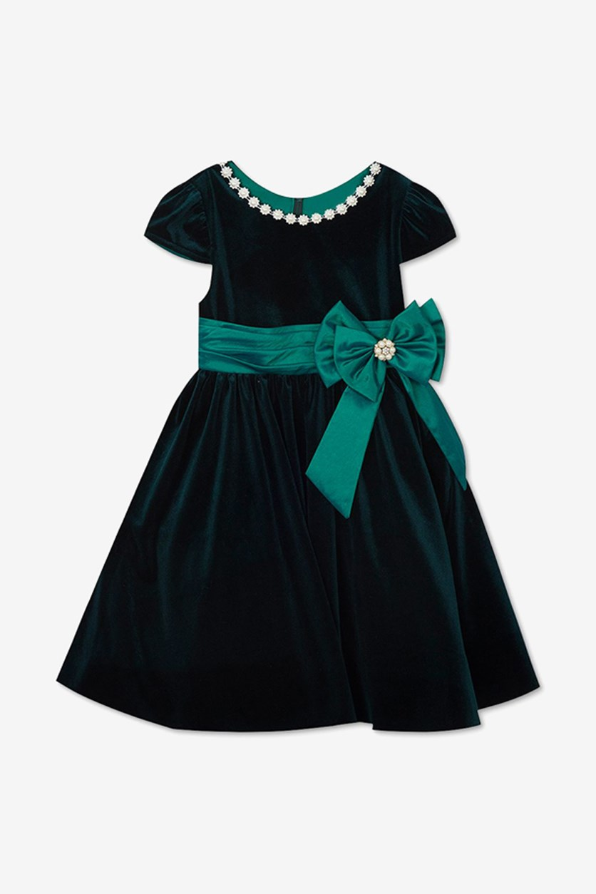Baby Girls Embellished Velvet Dress, Green