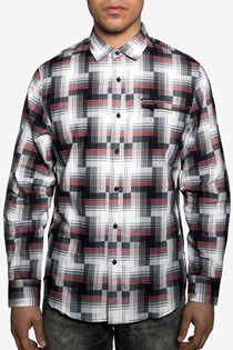 Men's Regular-Fit Broken Plaid Shirt, Black/Red/Grey