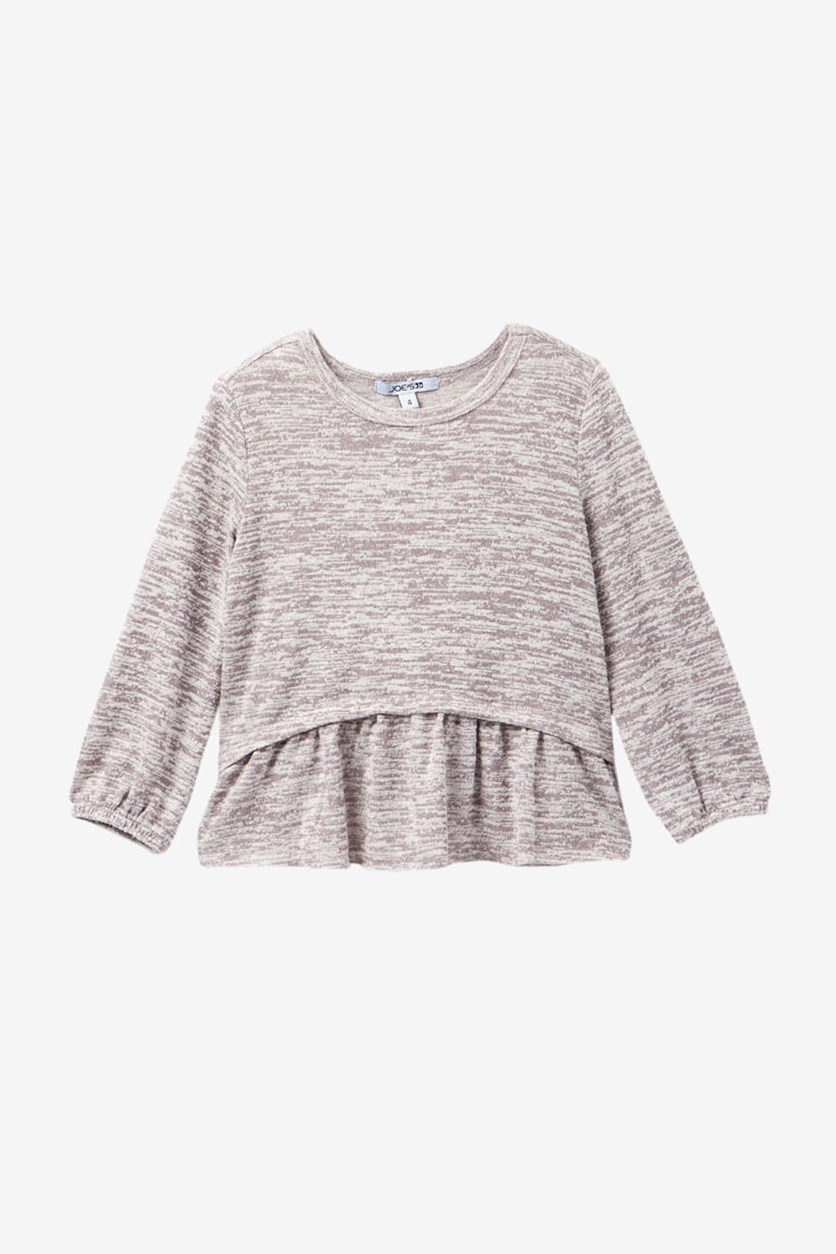 Heathered Jersey Peplum Top, Light Grey