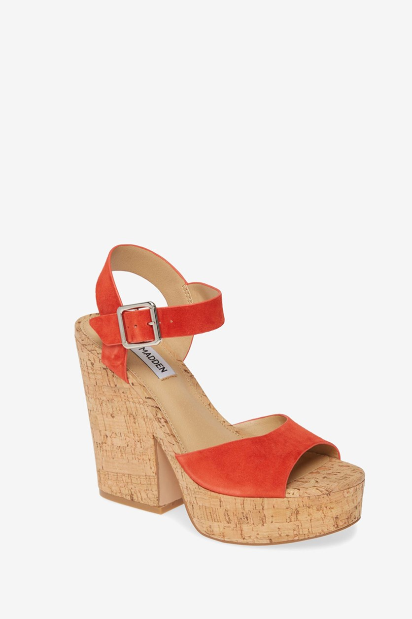 Women's Jess Dress Open Sandal, Orange Suede