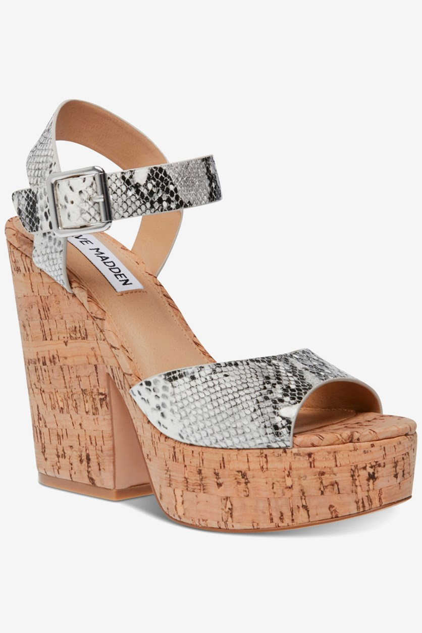 Women's Jess Cork Platform Sandals, Snake