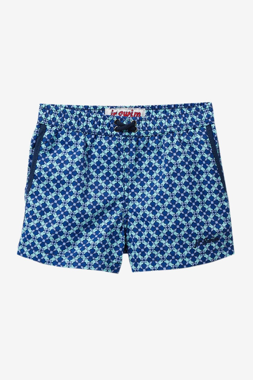 Toddler Boys Mosaic Swim Trunks, Blue/Turquoise