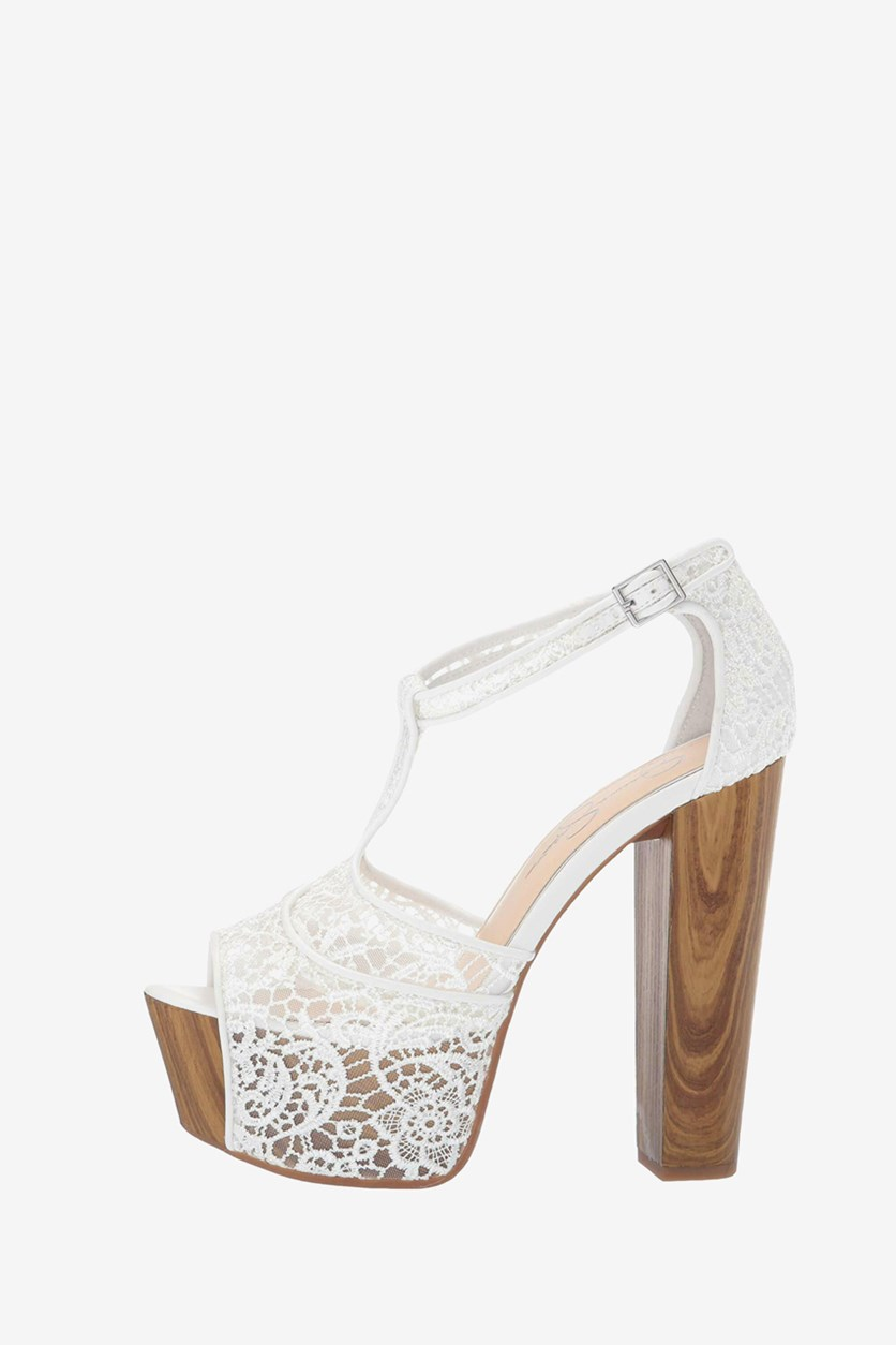 Women's High Heel Dany Lace Sandals, White