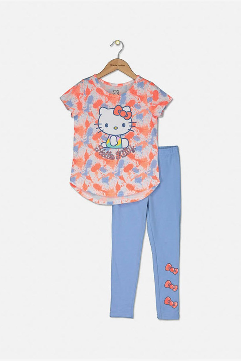 Little Girl's Allover Printed Top & Leggings Set, Knockout Pink