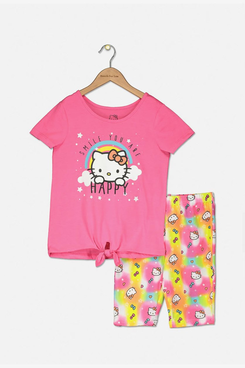 Little Girls Hello Kitty Happy Print Top and Short Set, Knockout Pink