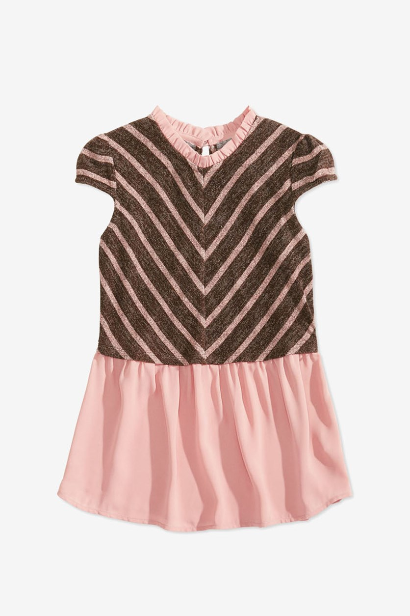 Big Girl's Layered-Look Striped Top, Peach/Charcoal