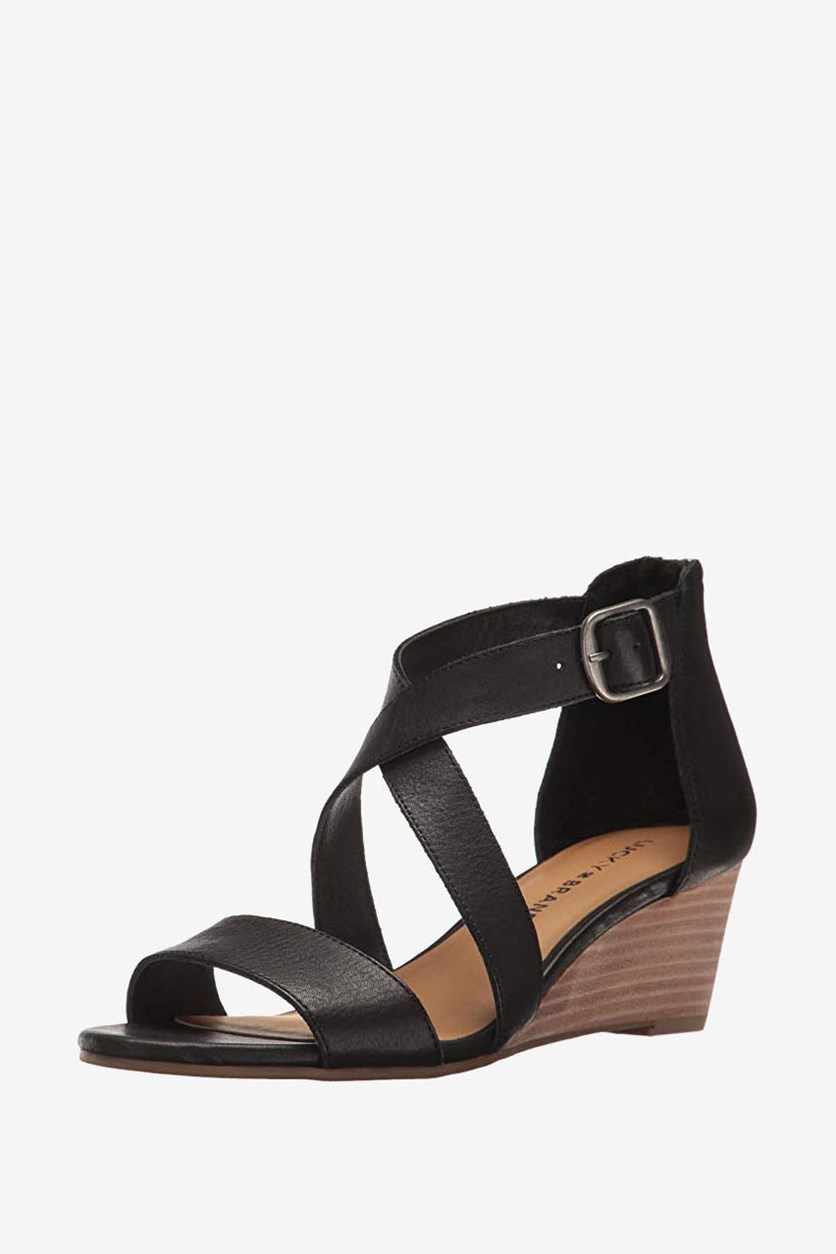 Women's Jenley Leather Open Toe Wedge Sandals, Black