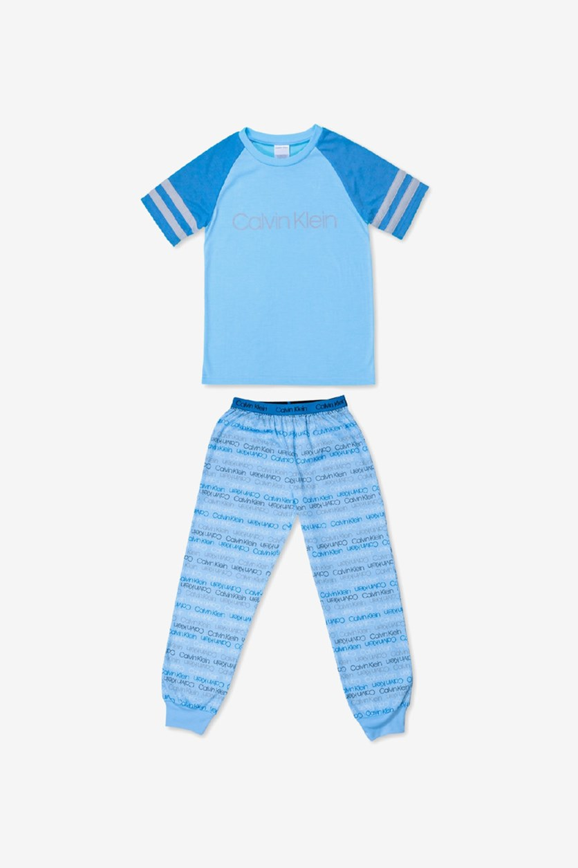 Big Boys 2-Pcs. Logo-Print Pajama Set, Blue/Grey