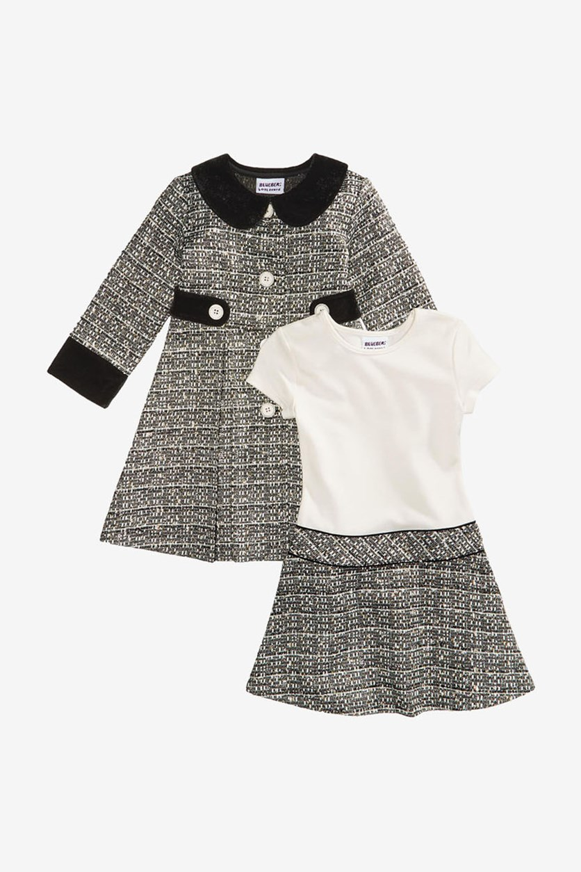 Girl's 2-Pc. Tweed Coat and Dress Set, Black Combo