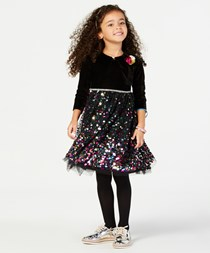 Little Girls 2-Pc. Shrug & Dress Set, Black