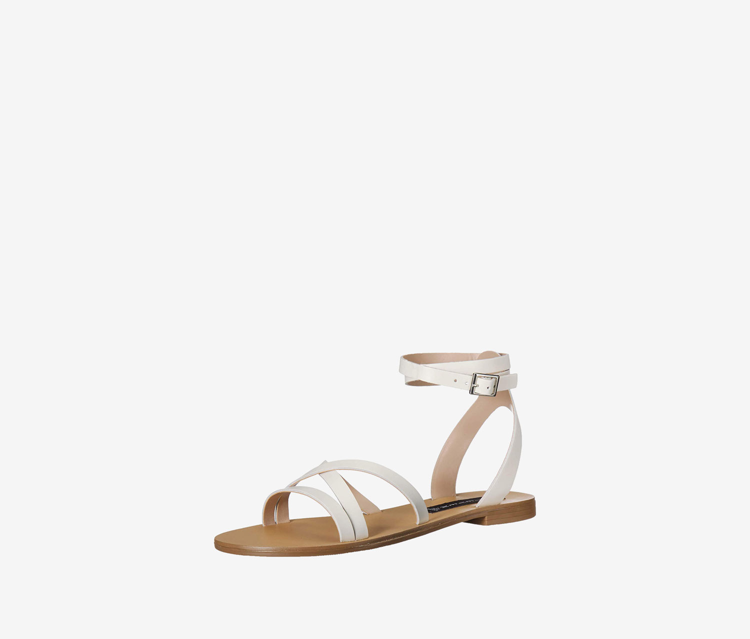 Women's Matas Strappy Flat Sandals, White Leather
