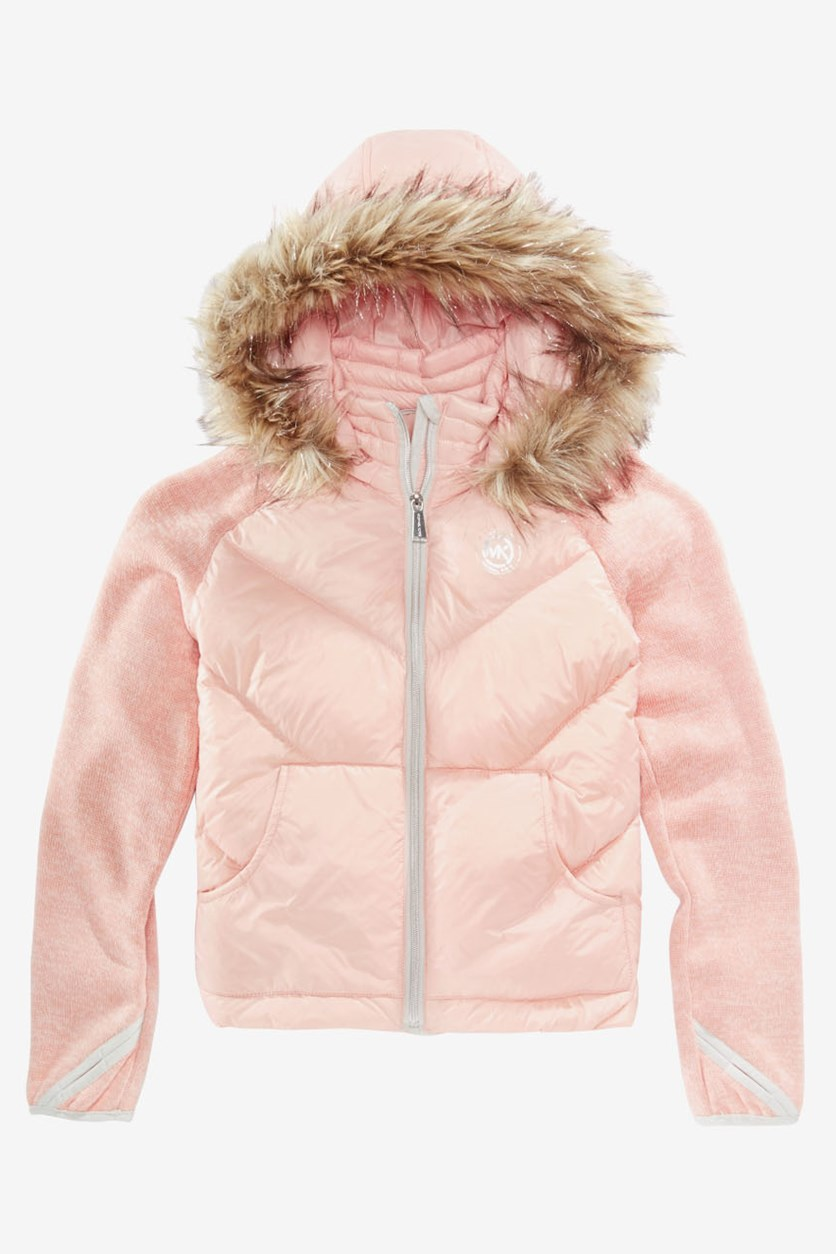 Toddler Girls Jacket with Removable Faux-Fur-Trimmed Hood, Blush