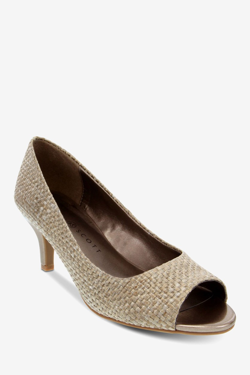 Womens Mory Open Toe Classic Pumps, Natural
