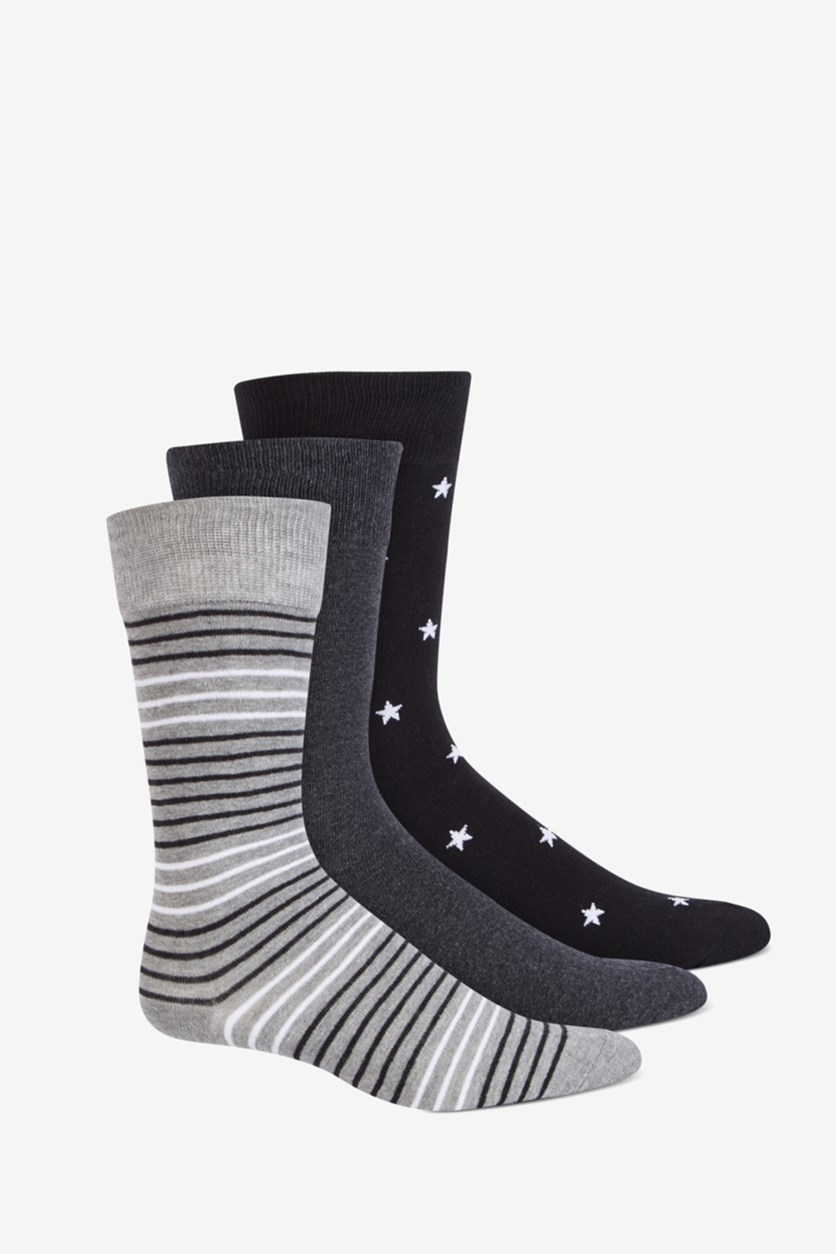 Men's 3-Pk. Crew Socks, Grey/Black/Charcoal