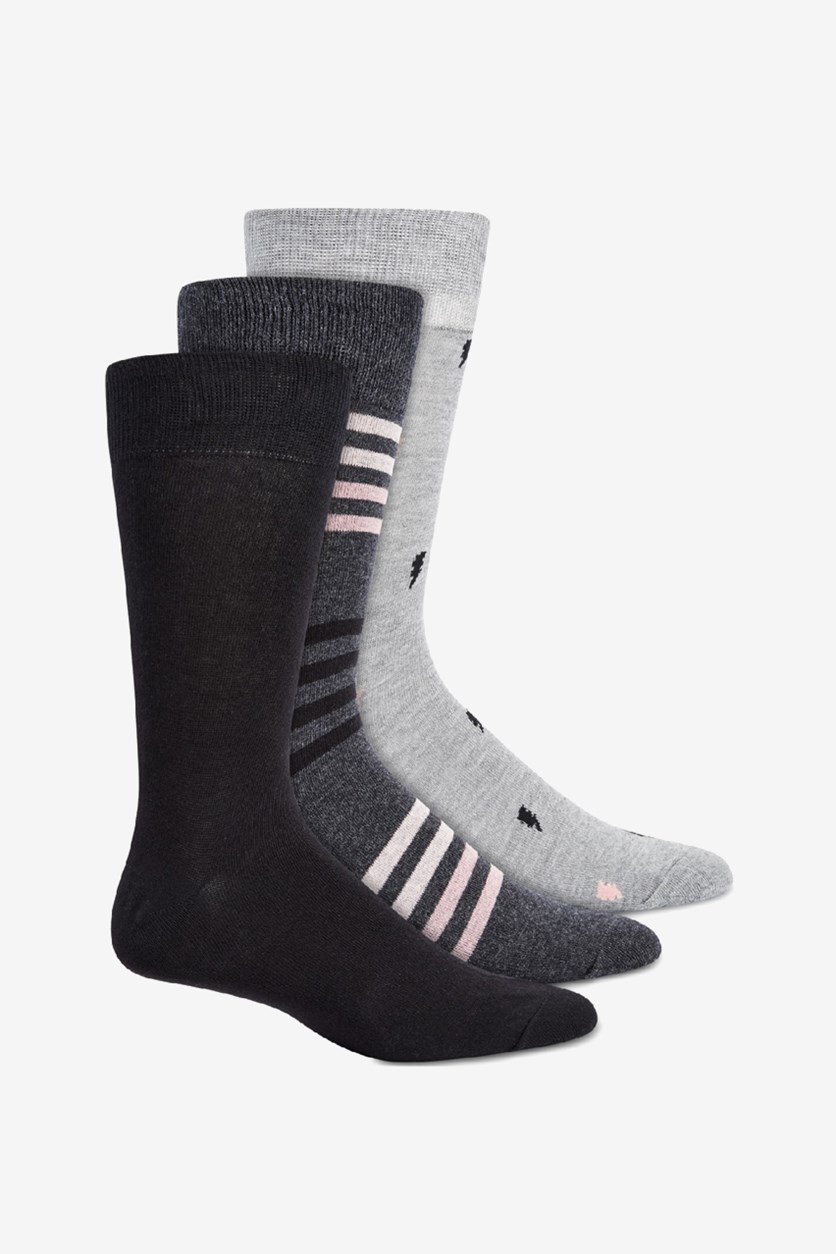 Men's 3-Pack Bolts and Stripes Crew Socks, Black/Dark Grey/Light Grey