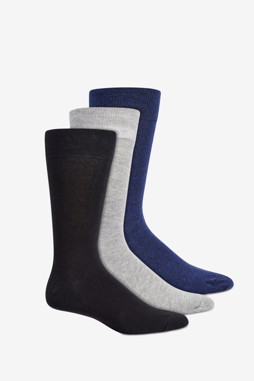 Men's 3-Pk. Marled Crew Socks, Black/Navy/Grey